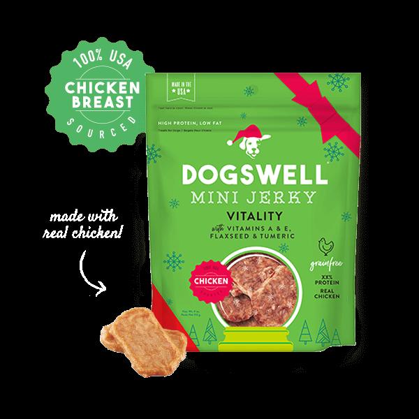 Dogswell vitality holiday mini jerkies