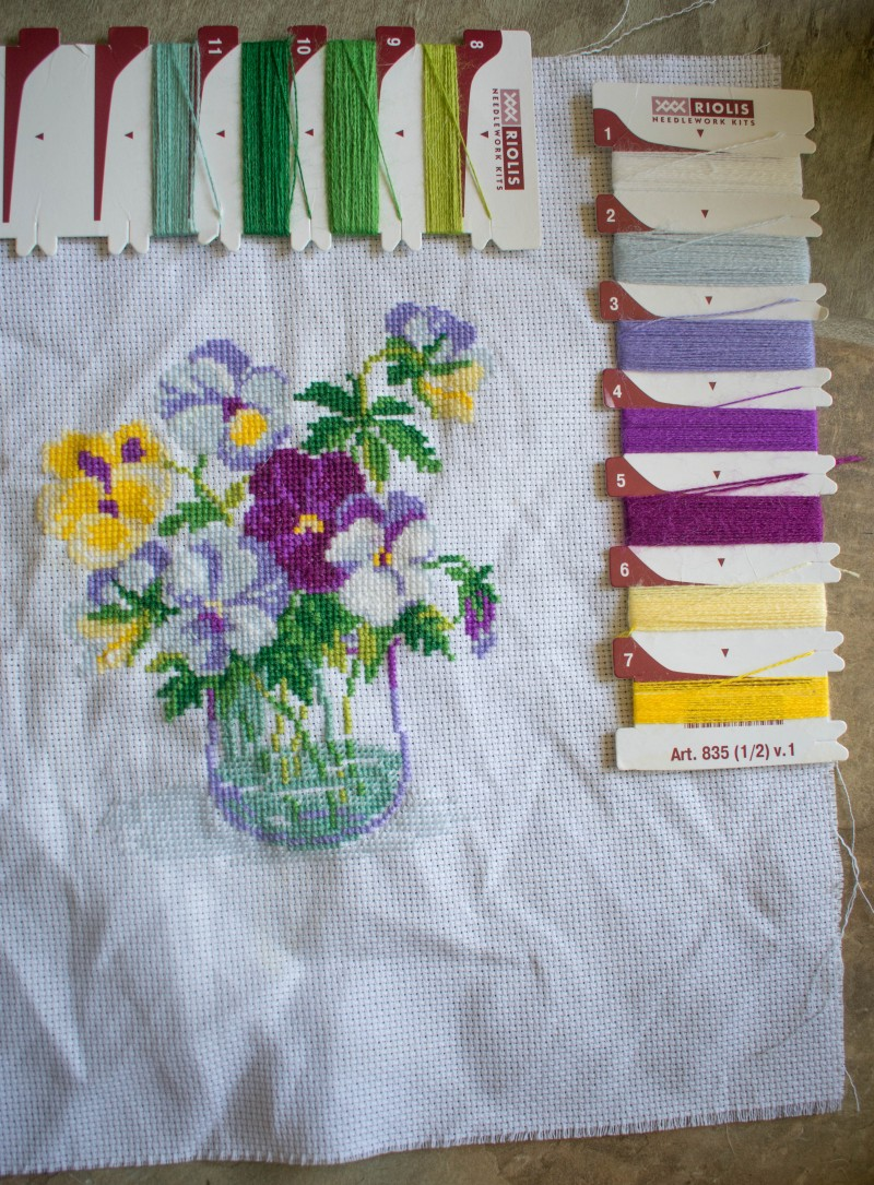 Riolis cross stitch kit finished pansies