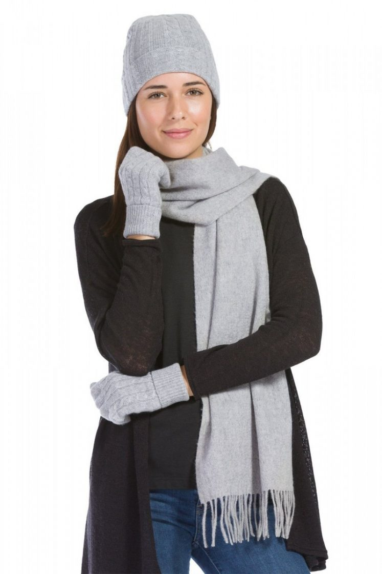 Fishers Finery 3pc 100% Pure Cashmere Hat, Glove, Scarf Set with Gift Box