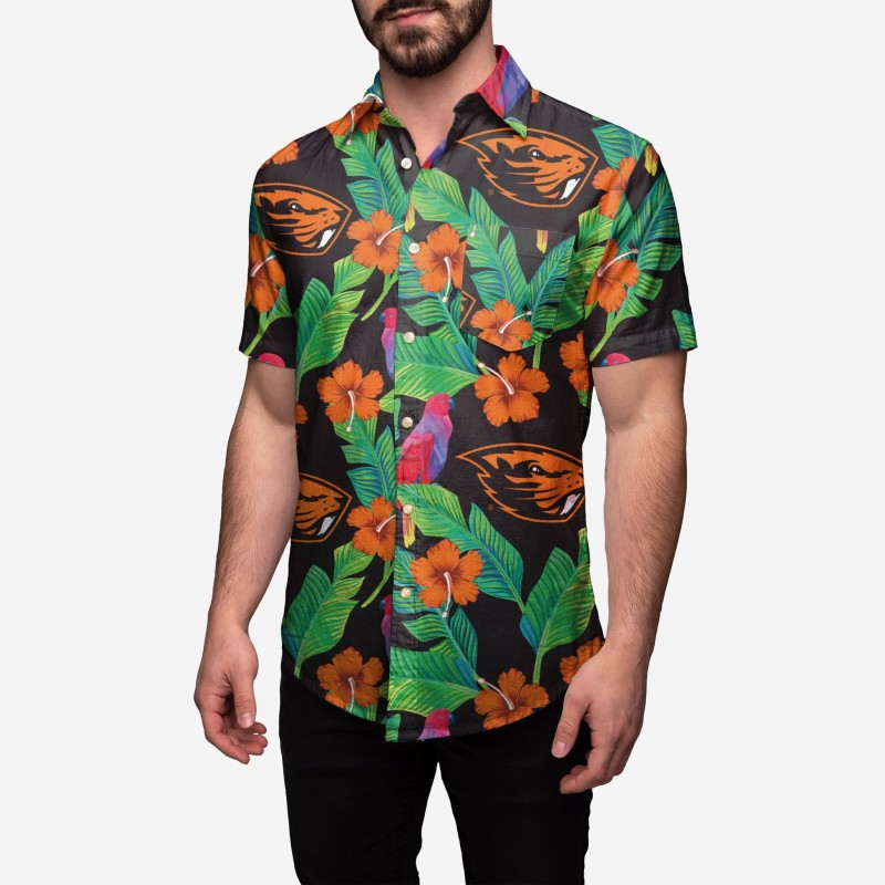 Oregon State Beavers, Floral Button Up Shirt