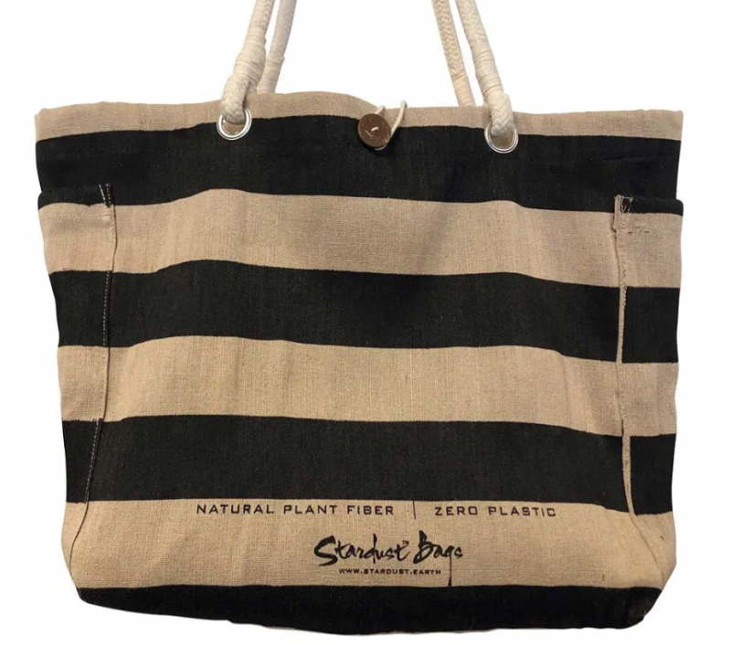 Black Stripes Natural Jute Beach Bag