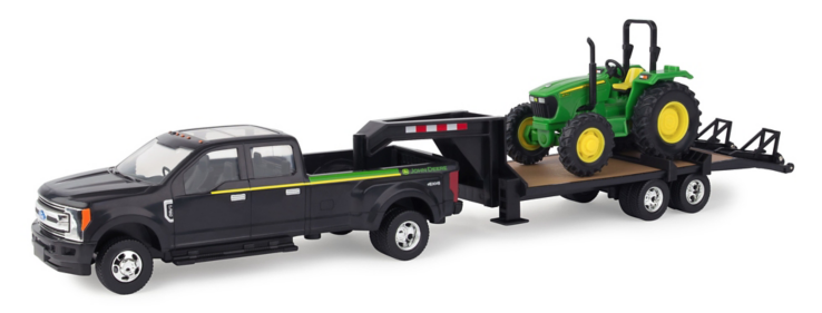 TOMY 1:32 Scale 2017 Ford F350 with Trailer and John Deere Tractor