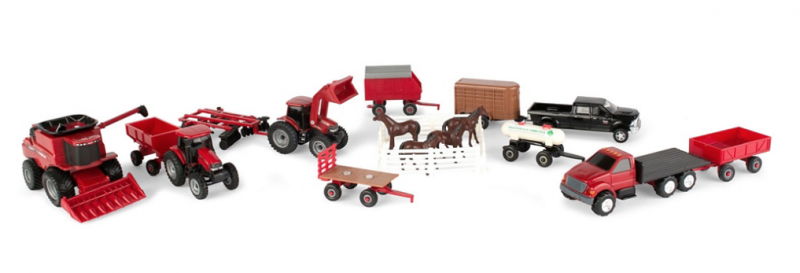 TOMY CASE IH 1:64 Scale Farm Toy Playset - 20 Piece Value Set