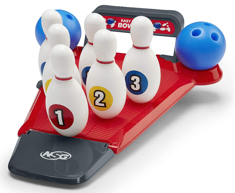 NSG Easy Up Pins Bowling Set for Kids - Mini Bowling Alley with 6 Pins and 2 Balls