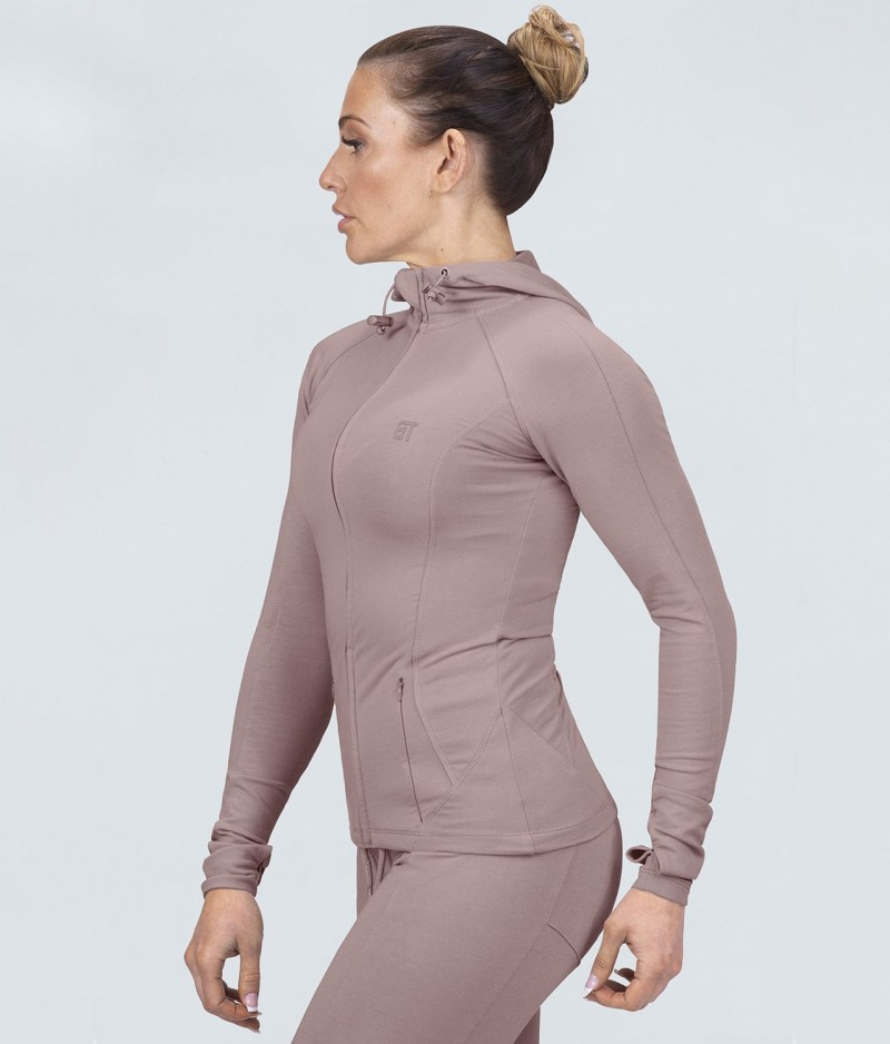 Born Tough Contoured Rose Sleeve Loops Running Tracksuit Hoodie for Women