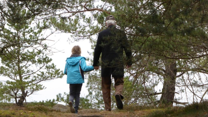 man and child walking in the woods - Make Earth Day Every Day (With Spin Master)